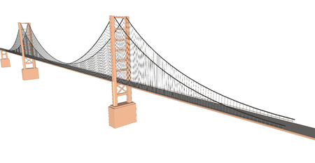 autobahn: Vector 3D bridge City buildings view on white Illustration