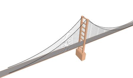 city view: Vector 3D bridge City buildings view on white Illustration