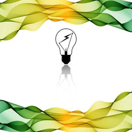 splash page: Vector Color border background with wave and lamp on white