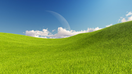 Moon and spring green meadow. Nature composition. 3D rendering