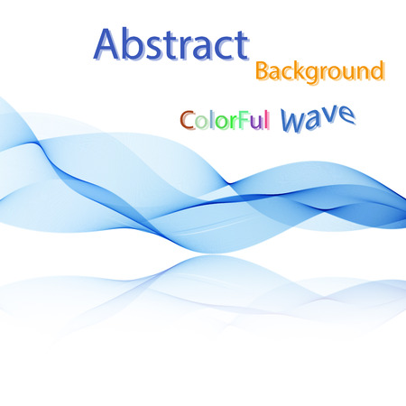 Vector Abstract colorful smoky waves on mirror background. Template brochure design