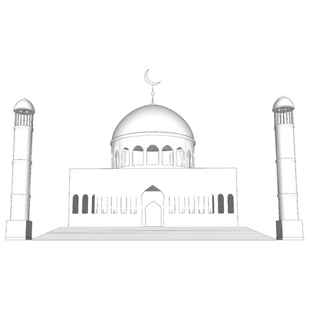 cupola: mosque silhouette in night sky with crescent moon and star