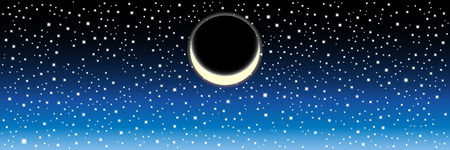 genesis: Black Night sky with stars and moon. Vector image . Vector image Illustration