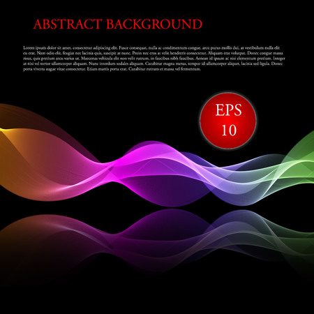 vector image: Vector image Glowing waves on black background