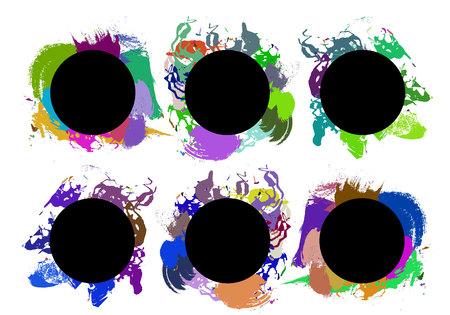 Set di vernice di colore, inchiostro, grunge, pennellate sporche. immagine vettoriale Vettoriali