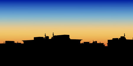 apartment blocks: Night City. Vector illustration of apartment blocks in a town at evening.