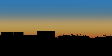 london night: Night City. Vector illustration of apartment blocks in a town at evening.