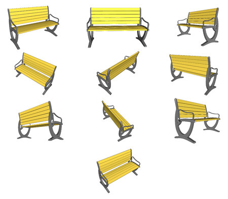 wooden bench: Set Wooden bench on white Vector image