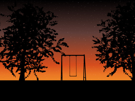 bench alone: tree with a swing on night stars sky Vector illustration.