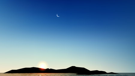 Vector Realistic Beautiful sunset above the sea ocean with moon