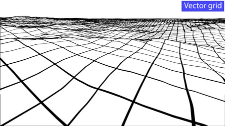 undulated: Vector Abstract wireframe landscape background. Cyberspace grid. 3d