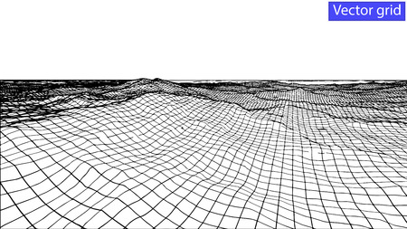 grid pattern: Vector Abstract wireframe landscape background. Cyberspace grid. 3d