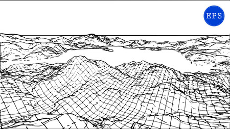 grid: Abstract mountain cyberspace grid. Vector