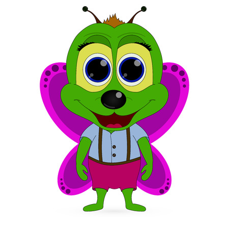 Vector abstract cute green butterfly on a white background