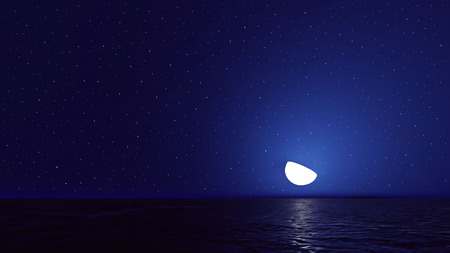 horizon over water: Vector night sky with ocean, moon stars background. Illustration
