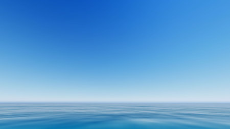 Vector blue sea and clear sky.