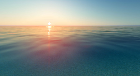 Vector realistic sunset and sea water.
