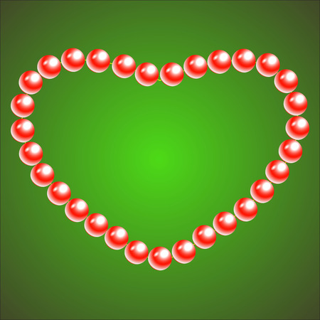 necklet: Vector Valentine s Day greeting card with red pearl heart on green. Illustration