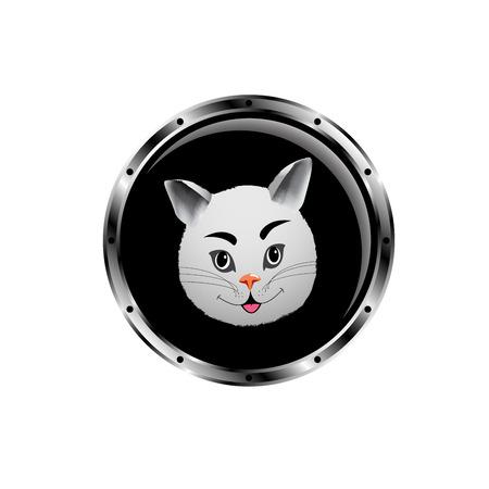 Vector image cat rocket porthole