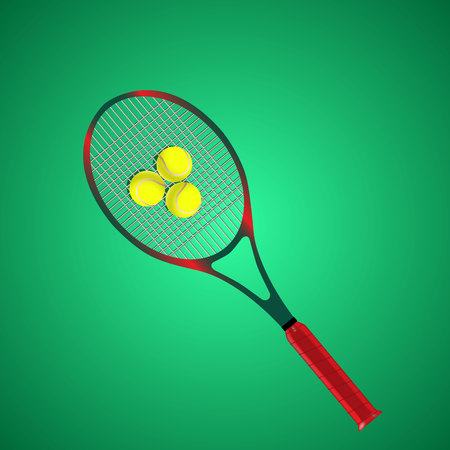smashing: Tennis racket and ball isolated on green background. Vector illustration