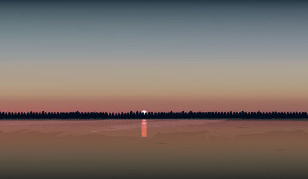 River sunset Clean water. Vector illustration