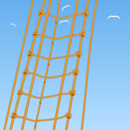 Rope ladder. Rope. Reef knot and seagulls