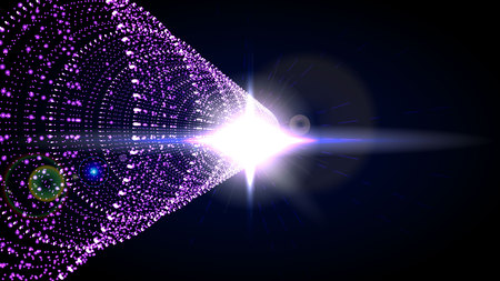 Abstract Technology Tunnel with pink Light at the End. Cyber grid. Vector Abstract Digital Illustration