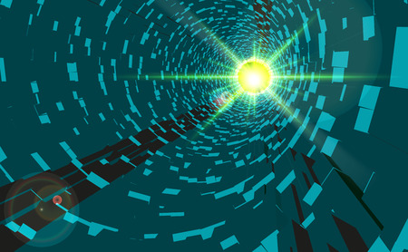 Vector Green Abstract Technology Tunnel with Light at the End. 3D tunnel grid