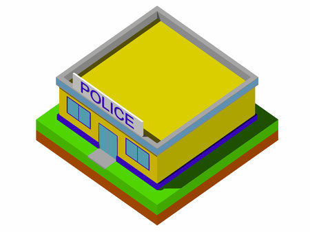 precinct station: Isometric police department building Vector. Illustration