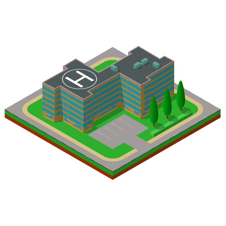 helipad: Flat 3d isometric building with a helipad and a parking place Illustration