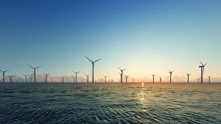 Sonnenuntergang-Windkraftanlagen auf blauem Meer 3D übertragen Standard-Bild