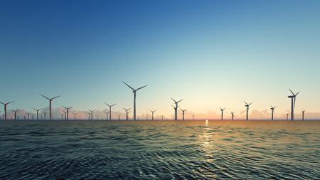 Sunset Wind Turbines on blue sea 3D render