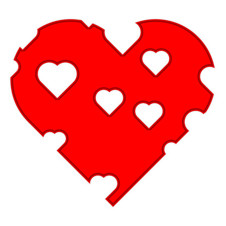 Red Heart with holes Vector Illustration