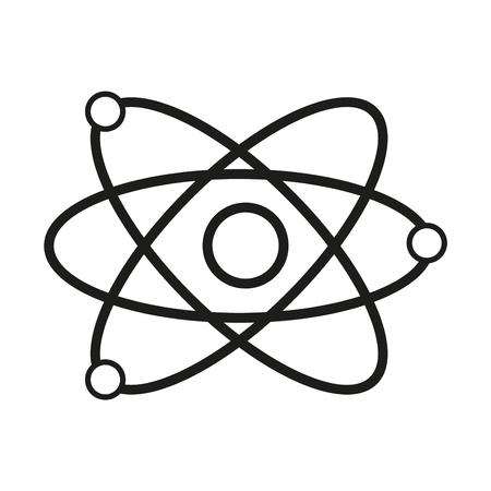 Science model of atom sign illustration. Vector. Black icon on white background