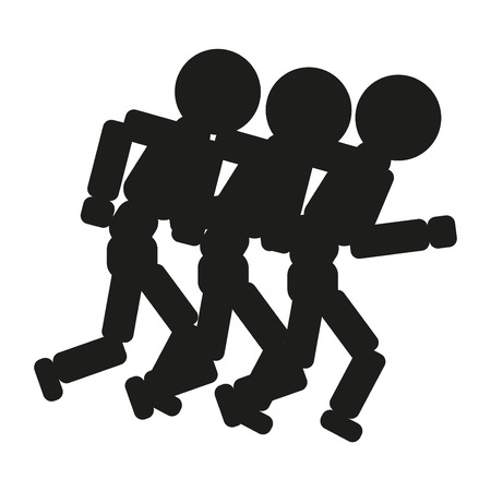 race winner: Running people sign illustration. Vector. Black icon on white background.