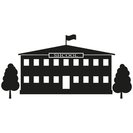 Facade Building School sign illustration. Vector. Black icon on white background.