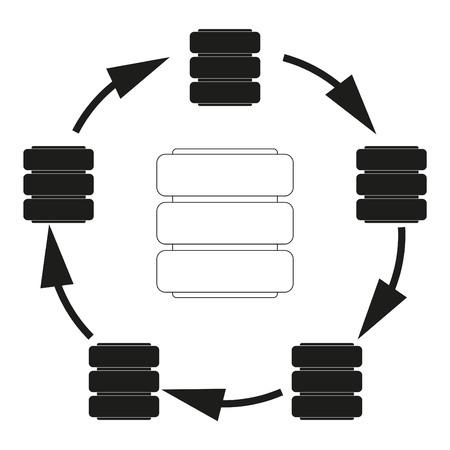 Big data Database cycle Vector black icon on white background.