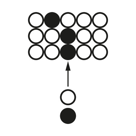 Big data Chain reaction circuit Vector black icon on white background.