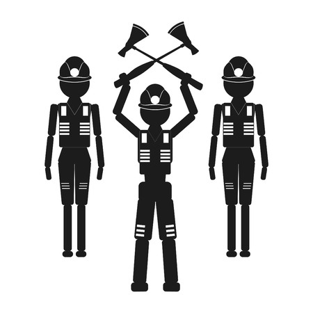 A man with two axes and two assistants Vector black icon on white background.
