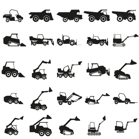 heavy: Set loader car illustration. Vector. Black icon on white background.