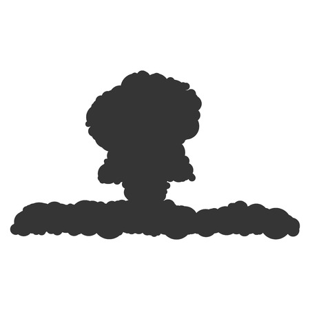 cartoon bomb: Nuclear explosion sign illustration. Vector. Black icon on white background.
