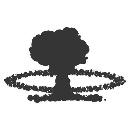 Illustration de signe d'explosion nucléaire. Vecteur. Icône noire sur fond blanc.