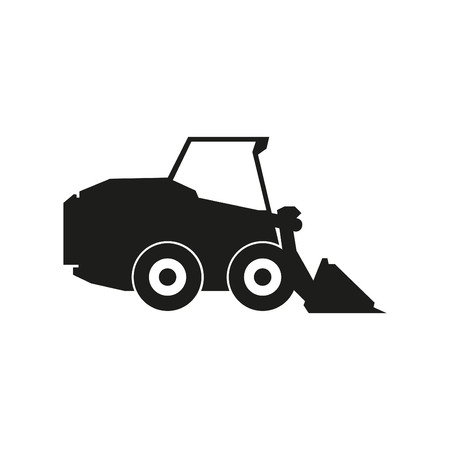 Tractor sign illustration. Vector. Black icon on white background Illustration