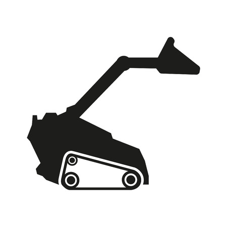 heavy: Tractor sign illustration. Vector. Black icon on white background Illustration