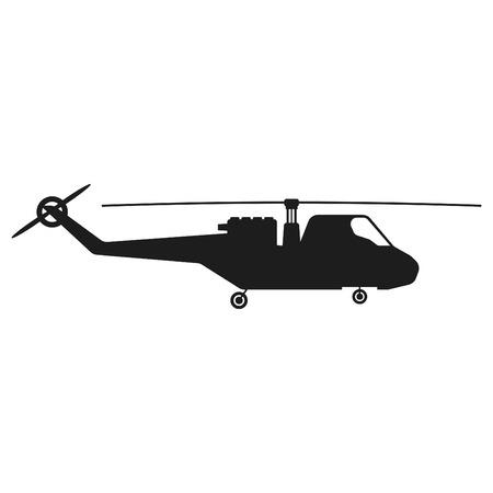 Helicopter sign illustration. Vector. Black icon on white background Illustration