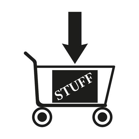 supermarket: Shopping cart sign illustration. Vector. Black icon on white background