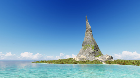 Peak of a rocky mountain on a tropical island sea 3D render