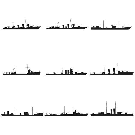 Ships silhouettes set black icon on white 일러스트