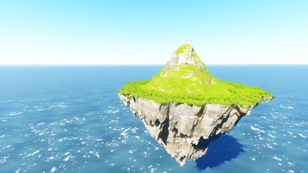 Amazing island floating in the air blue sky 3D render
