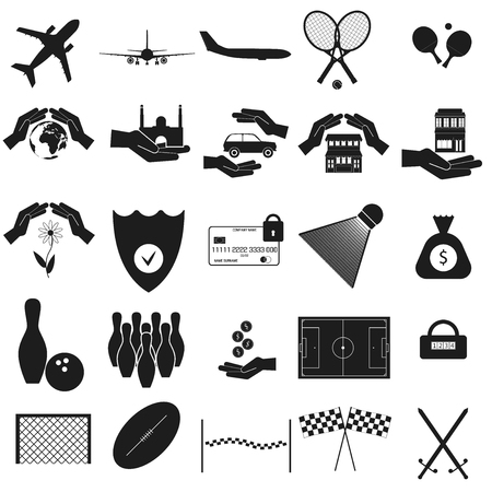 Airplane, sport, protection set Vector black icon on white